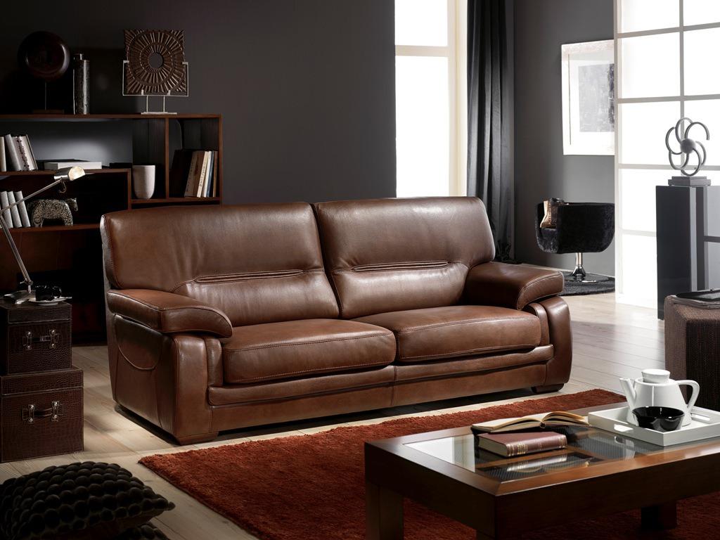 Sofa marron piel 0002 mobles bardolet - Sofa piel marron ...